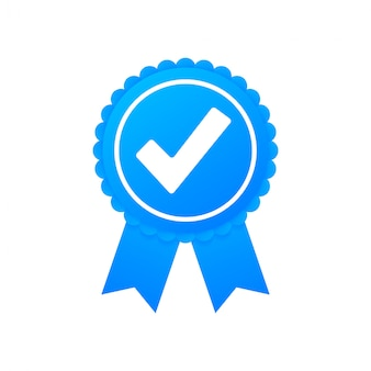Checkmark. blue approved star sticker on white