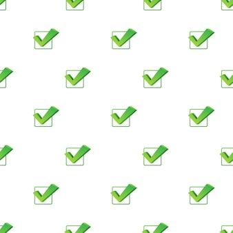 체크 표시. 흰색 바탕에 녹색 승인된 패턴입니다. 벡터 재고 일러스트 레이 션.