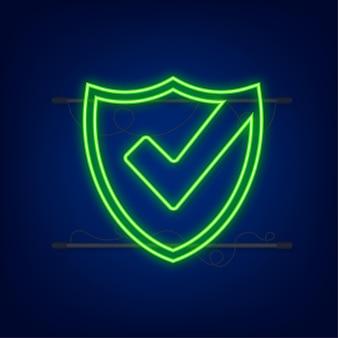 チェックマーク。緑の承認されたステッカー。ネオンスタイルのベクトル図です。