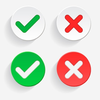 Галочка зеленая галочка и красный крестик одобренных и отклоненных символов круга да и нет для голосования, принятия решения, в интернете. векторная иллюстрация значок