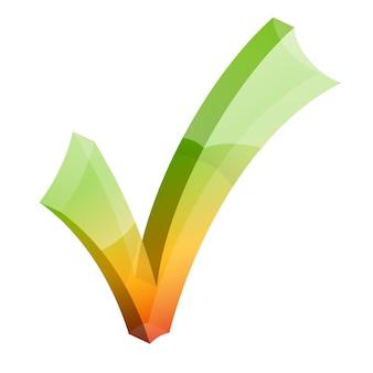 Значок галочки. галочка 3d отметьте правильный символ. хорошо, одобренный знак. изолированные векторные иллюстрации