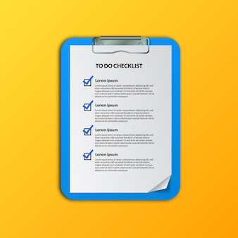 Checkmark to do list document for preparation or planning, schedule, or organize business plan or activities