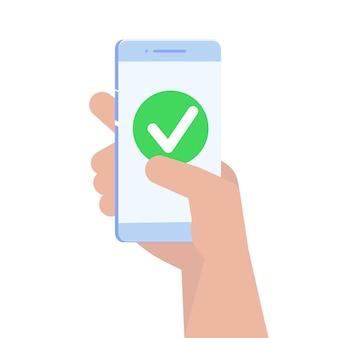 スマートフォン画面のチェックマーク。