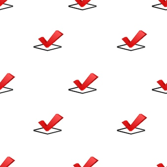 Checkmark. red approved pattern on white background. vector stock illustration.