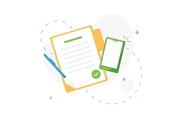 Checkmarked document or completed task list with phone