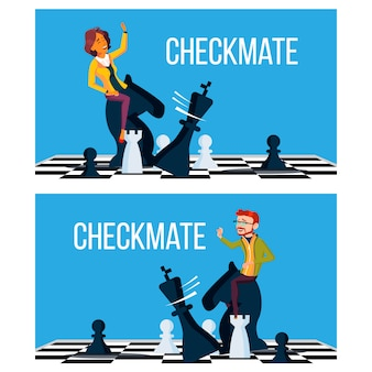 Checkmate concept . business man and woman make checkmate on board