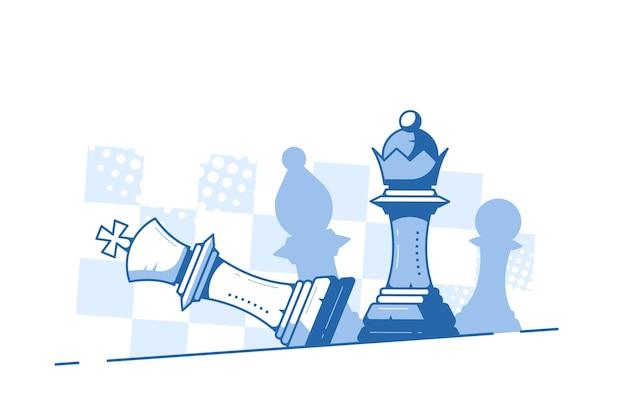 Шах и мат. падающая фигура короля и королевы