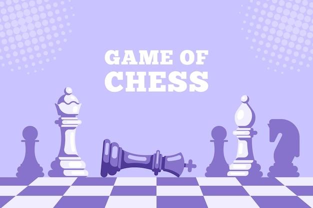 チェックメイト。チェスのゲーム。チェス盤に横たわっているチェス王とその上の女王像。チェス盤のチェスの駒