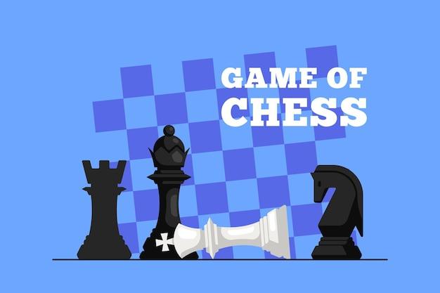 チェックメイト。チェスのゲーム。チェス盤に横たわっているチェス王とその上の女王像。背景のチェス盤