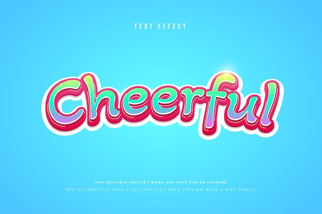 Cheerful 3d text effect on blue background