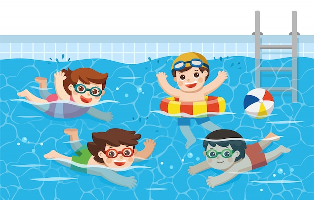Cheerful and active kids swimming in the swimming pool. sport team.  illustration.
