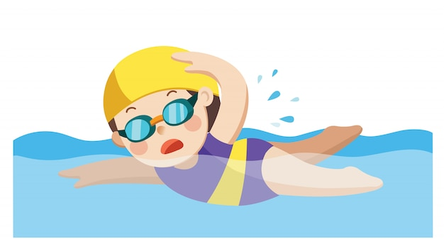 Cheerful and active little girl swimming happy in the swimming pool