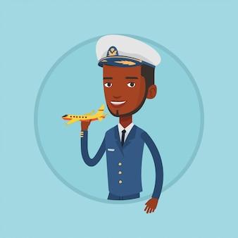模型飛行機で陽気な航空会社のパイロット。