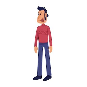 Веселый и красивый взрослый человек мультфильм иллюстрации. среднего возраста улыбающийся мужчина. готовый шаблон персонажа для рекламы, анимации, печати. комический герой