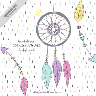Cheerful background with dream catcher and arrows