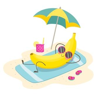 Веселый банан загорает на пляже под зонтиком. иллюстрация в мультяшном плоском стиле.