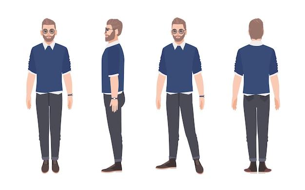 カジュアルな服とサングラスを身に着けている陽気なひげを生やした男。孤立した笑顔の男性漫画のキャラクター