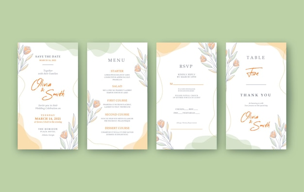 Cheerful and beautiful vertical wedding invitation template
