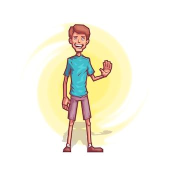 Cheerful boy in a cartoon style