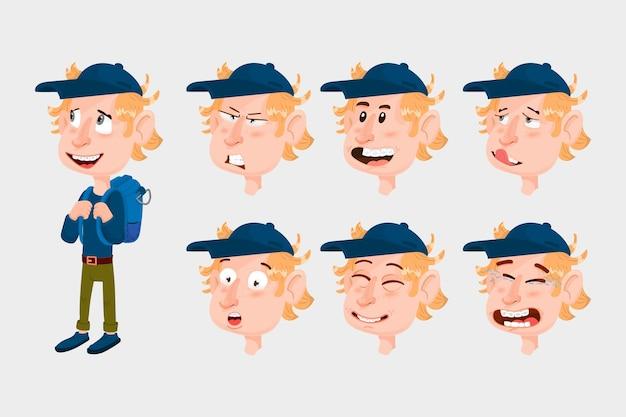 Cheerful boy emotion constructor, cartoon character, flat style.