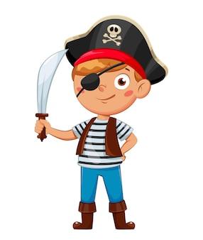 Веселый мальчик в костюме пирата ребенок в карнавальном костюме милый мультипликационный персонаж