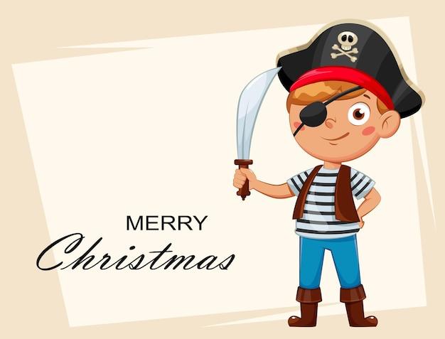 Веселый мальчик в костюме пирата. ребенок в рождественском карнавальном костюме, милый мультипликационный персонаж. фондовый вектор иллюстрация