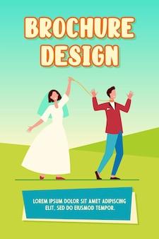 Cheerful bride leading groom on leash brochure template