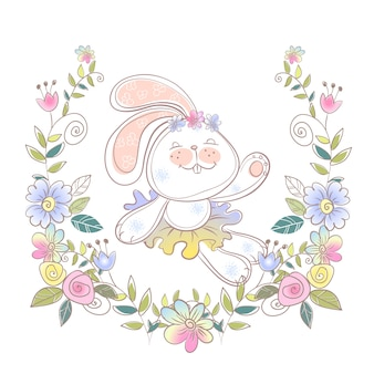 Cheerful bunny ballerina in a wreath of flowers .