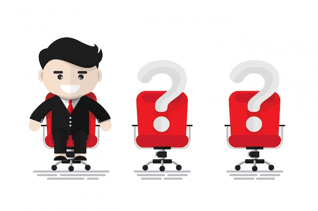 Cheerful businessman sitting on red office chair