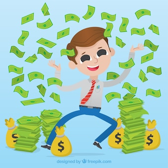 Cheerful businessman throwing money up