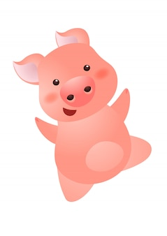 Cheerful carefree pink pig character