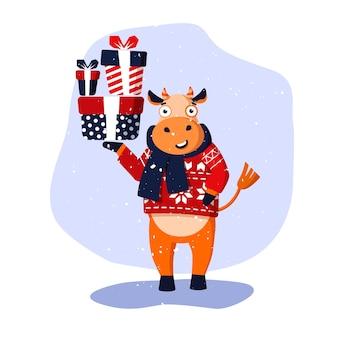 빨간 스웨터와 파란 스카프에 쾌활한 만화 황소. 2021년의 벡터 그림 기호입니다. 엽서, 포스터, 초대장에 사용할 수 있습니다.