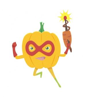 Cheerful cartoon character of superhero pumpkin