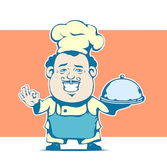 Cheerful cartoon chef