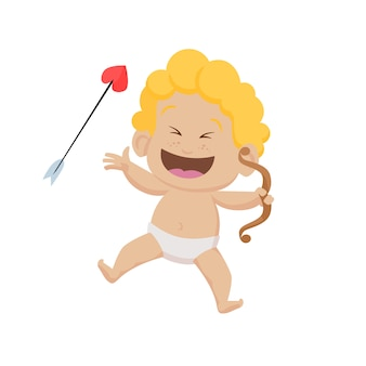 Cheerful cartoon cupid with bow and arrow