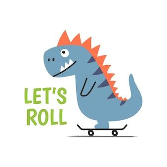 テキストと白い背景の上のスケートボードの陽気な漫画の恐竜は転がることができます