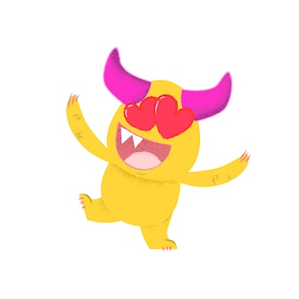 Cheerful cartoon monster with hearts instead of eyes