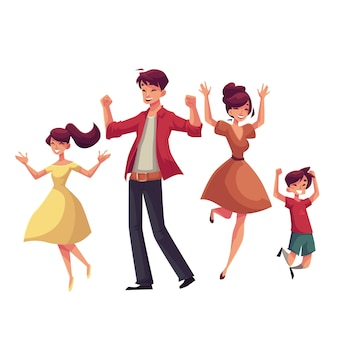 Cheerful cartoon style family jumping from happiness