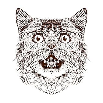 Веселая кошка голова гравюра иллюстрации