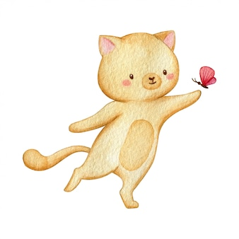 Cheerful cat pay with a tiny butterfly. hand drawn traditional watercolor illustration isolated on white background.