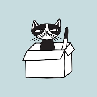 Cheerful cat sitting in carton box against light blue