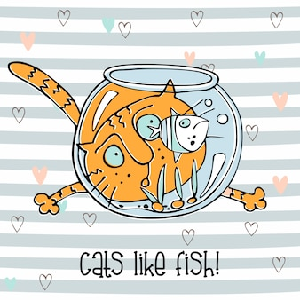 Cheerful cat watching fish in the aquarium. cute doodle style