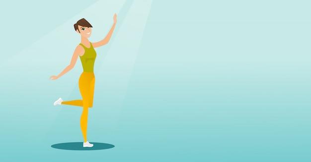 Cheerful caucasian woman dancer dancing.