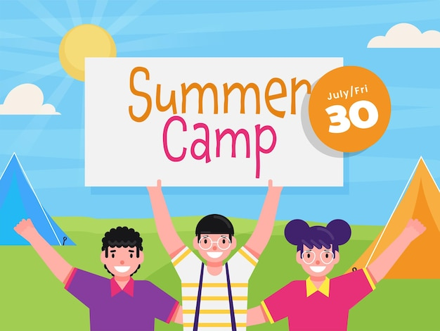 Cheerful children holding board of summer camp on sunshine nature background. can be used as poster design.