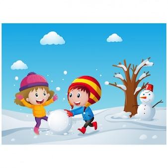 Веселые дети, играющие со снегом