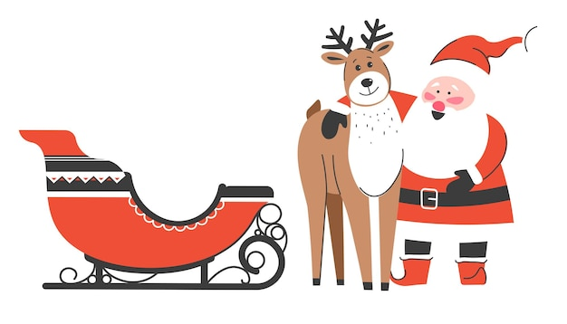 Cheerful christmas characters waiting for new year and xmas celebration. santa claus hugging reindeer standing by sleigh. funny personages enjoying wintertime on north pole. vector in flat style