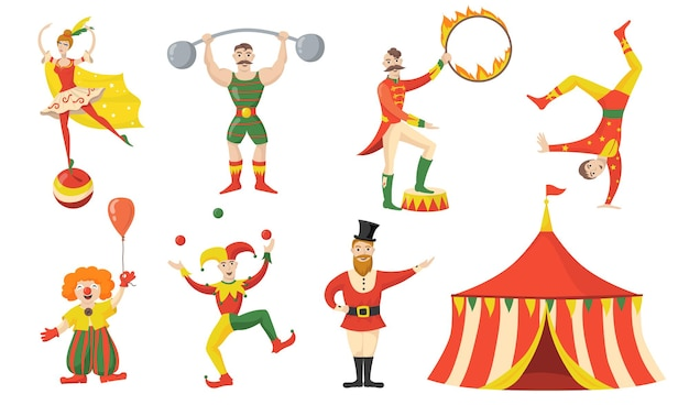 Cheerful circus character and performers flat set