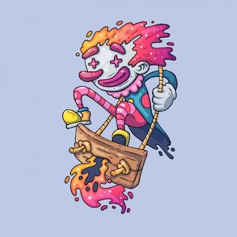 Cheerful clown swinging on a swing. creative  illustration. cartoon art for web and print.