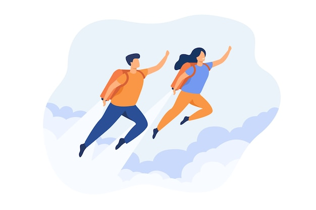 Cheerful couple boosting with jet pack isolated flat illustration.