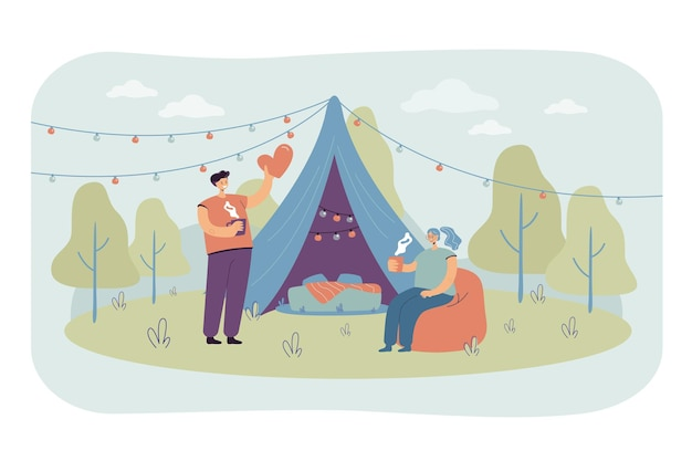 Cheerful couple camping together on nature isolated flat illustration